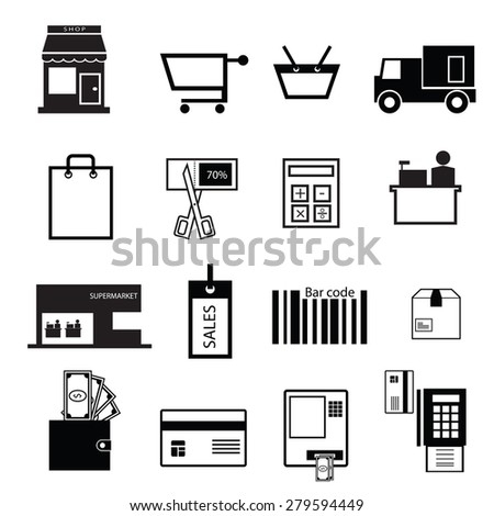 Shopping and sale icons set - stock vector