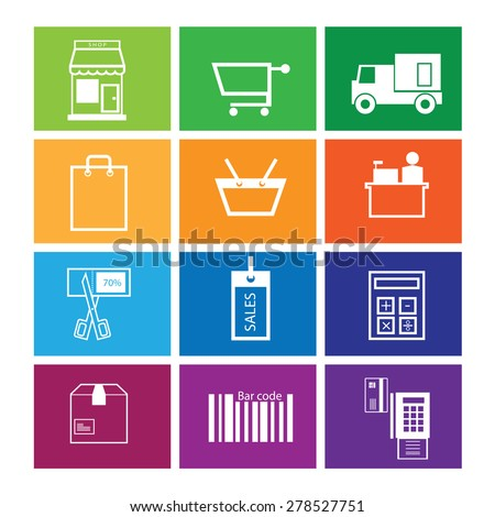 Shopping and sale icons set windows - stock vector