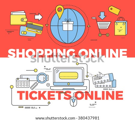 Shopping and tickets online concept. Shopping online, internet technology, business web shopping, buy online, order purchase online, pay service shopping online, payment tickets online illustration - stock vector