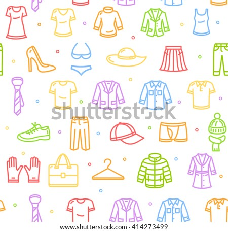 Shopping Background Pattern with Colorful Icons. Vector illustration - stock vector