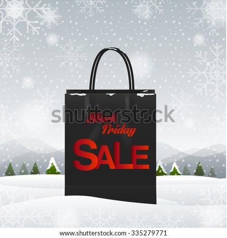 shopping bag, Black friday, winter background,vector Illustration - stock vector