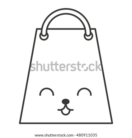 shopping bag character kawaii style vector illustration design