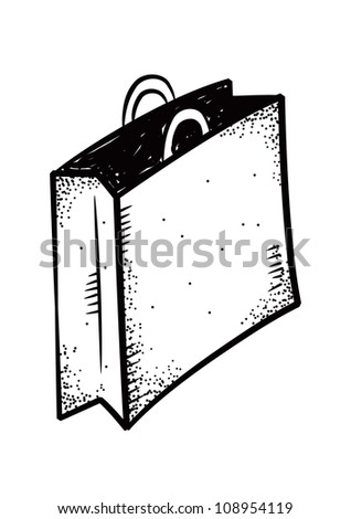 shopping bag doodle - stock vector