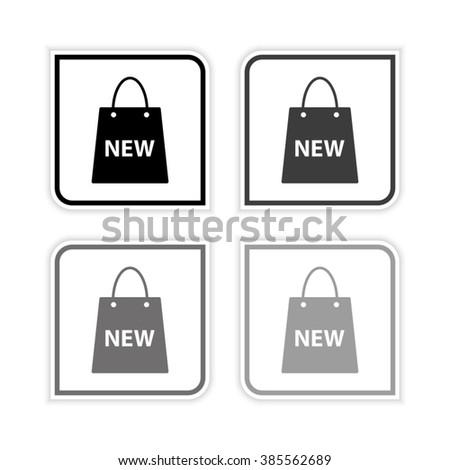 Shopping bag -  grayscale vector icon - stock vector