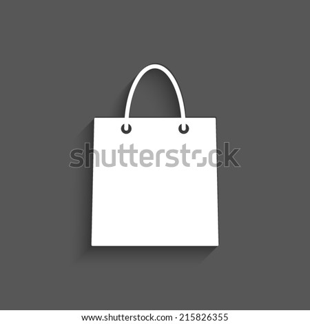 shopping bag icon with shadow on a grey background - stock vector