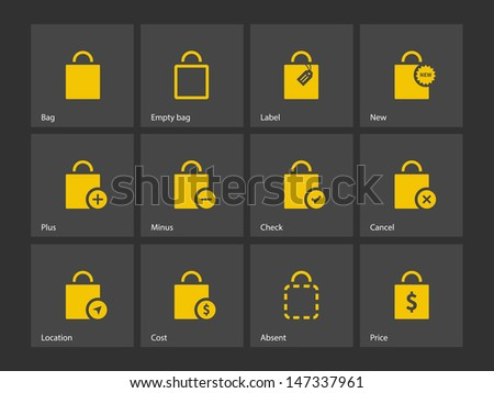 Shopping bag icons on gray background. Vector illustration. - stock vector