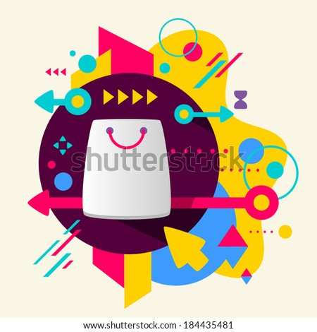 Shopping bag on abstract colorful spotted background with different elements. Flat design