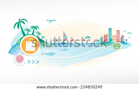 Shopping bag on travel background.  Seaside view poster.  - stock vector