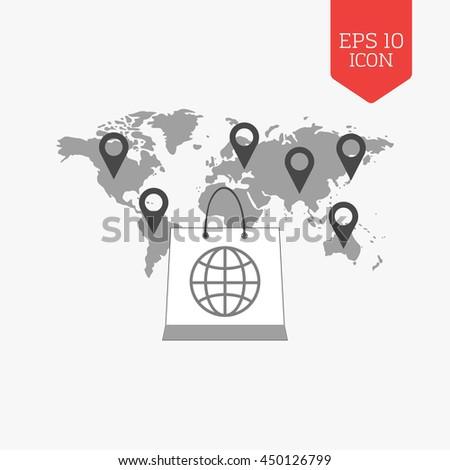 Shopping bag over world map with pointers. International sale concept. Flat design gray color symbol. Modern UI web navigation, sign. Illustration element - stock vector