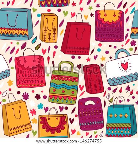 Shopping bag seamless pettern background - stock vector