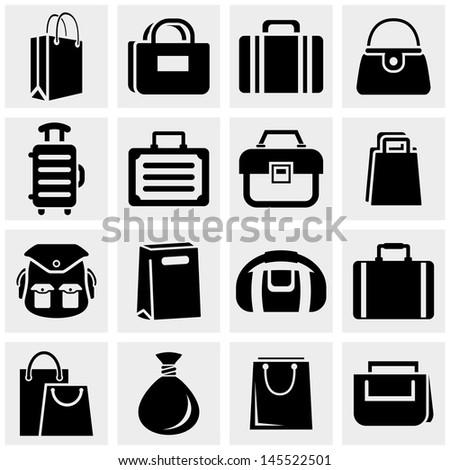 Shopping bag vector icons set on gray. - stock vector
