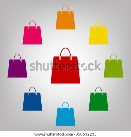 Shopping bag vector sign. Icons colorful set