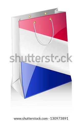 Shopping bag with a flag - stock vector