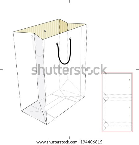 Shopping Bag with Die Cut Layout - stock vector