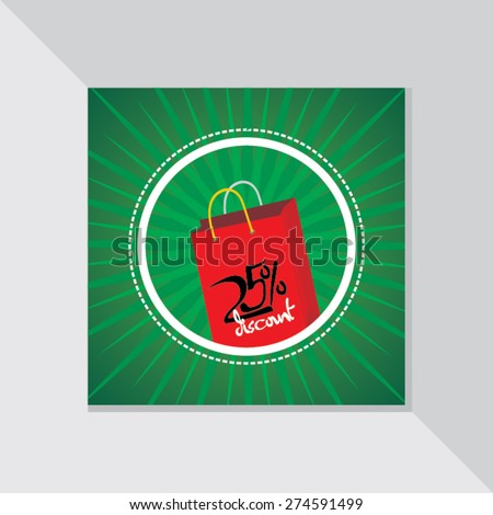 shopping bag with discount offer vector illustration - stock vector