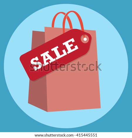 Shopping bag with sale tag icon sign vector illustration - stock vector