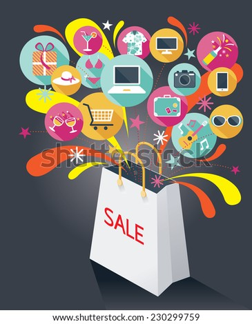 Shopping Bag with Sale Text and Various Icons - stock vector