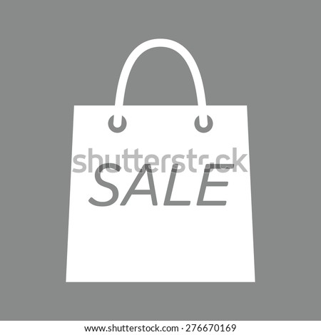 Shopping bag with the sale, discount symbol.