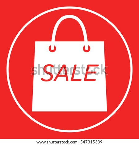 Shopping bag with the sale, discount symbol