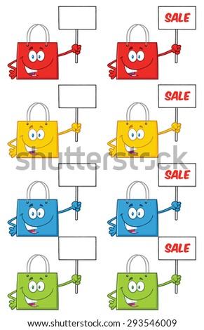 Shopping Bags Cartoon Character 3. Vector Collection Set - stock vector