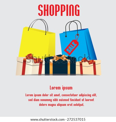Shopping bags, gift boxes. Shopping. Space for text. vector