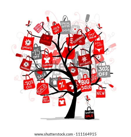 Shopping bags on tree for your design, big sale concept - stock vector