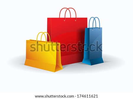 Shopping bags on white. Vector. Isolated.