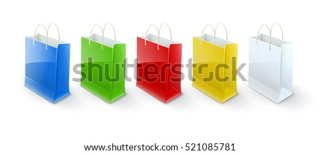Shopping bags paper packaging for goods and products transportation from shop or grocery. Realistic template mockup vector illustration. Isolated on white transparent background