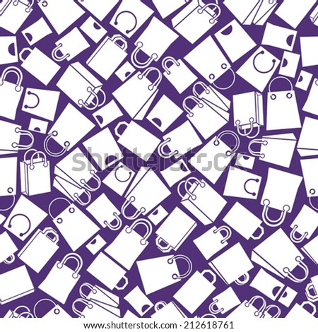 Shopping bags seamless background, monochrome, single color vector icon set, elements easy to use separately as icons. - stock vector