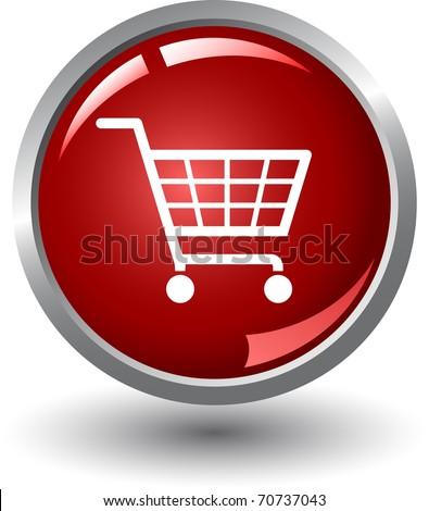 Shopping basket button. Internet Shopping - stock vector