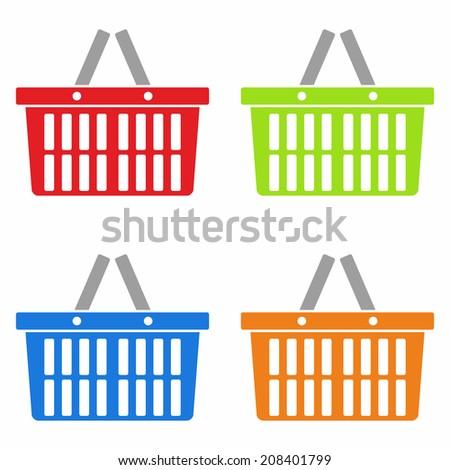 Shopping basket icon set - stock vector