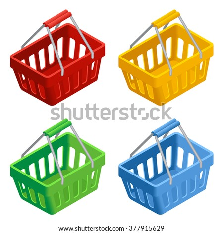 Shopping basket icon set, Colorful shopping basket, shopping basket Illustration, shopping basket on white background, shopping basket Vector, shopping basket 3d, shopping basket flat isometric  - stock vector