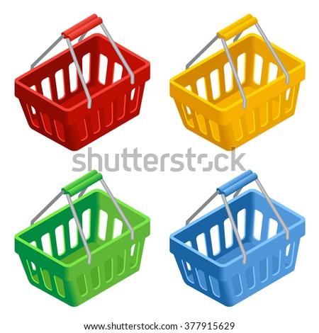Shopping basket icon set, Colorful shopping basket, shopping basket Illustration, shopping basket on white background, shopping basket Vector, shopping basket 3d, shopping basket flat isometric  - stock vector
