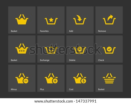 Shopping Basket icons on gray background. Vector illustration. - stock vector