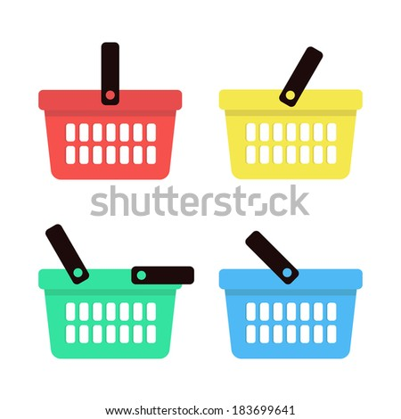 Shopping basket icons set. Vector illustration - stock vector