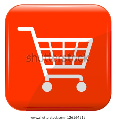Shopping basket sign on red button. - stock vector