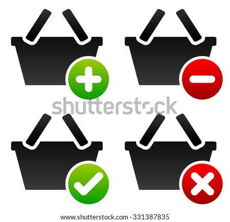 Shopping basket symbols. Add to, remove from cart. Confirm, cancel. - stock vector