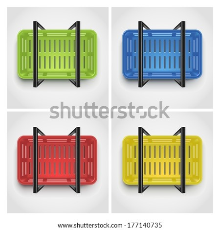 shopping basket, top view - stock vector