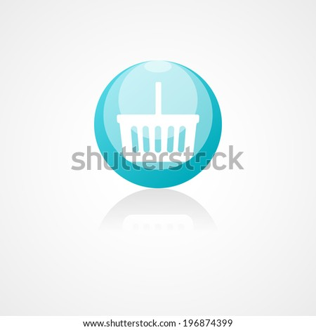 Shopping basket web icon on white background - stock vector