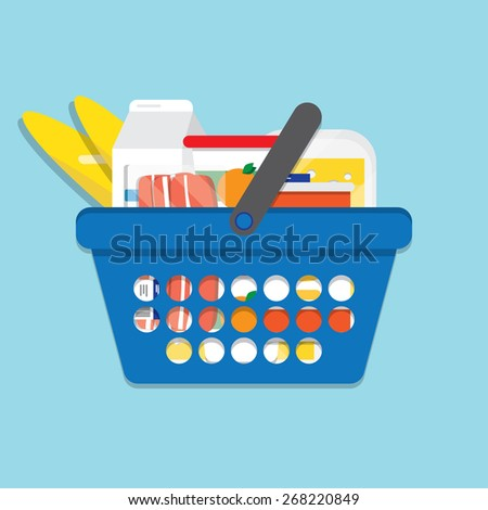 Shopping basket with foods. Illustration for design - stock vector