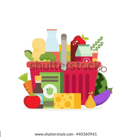 Shopping basket with fresh food and drink.Buy grocery in the supermarket. Vector flat design illustration - stock vector