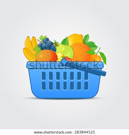 Shopping Basket with Fresh Fruit - stock vector