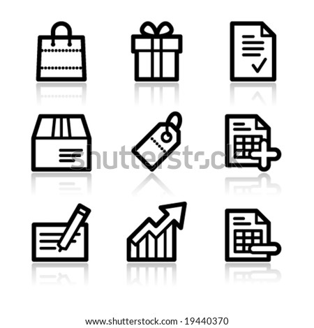 Shopping black contour web icons V2 - stock vector
