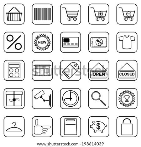 Shopping black contour web vector icons - stock vector