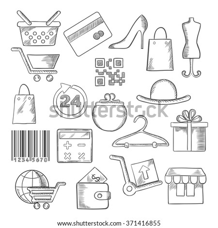 Shopping, business and commerce icons with shopping carts, basket and bags, bank credit card, wallets, money, delivery, barcode, store, qr code, gift box, 24 hours sign, calculator, shoes, hat