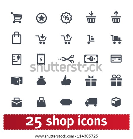 Shopping, business, e-commerce, delivery icons: vector set - stock vector