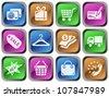 Shopping button set - stock vector