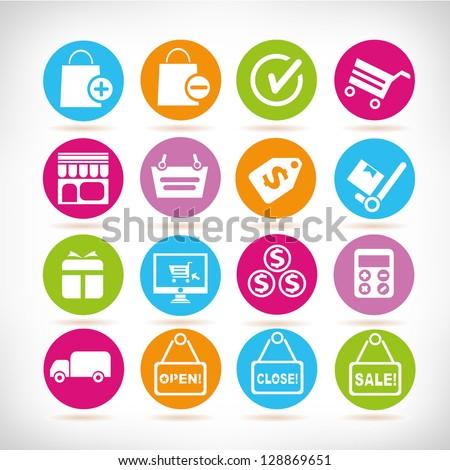 shopping buttons, shopping icon set, vector - stock vector