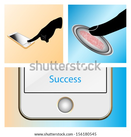 Shopping by Touch, ID, Fingerprint scan Access - stock vector