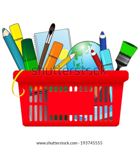 Shopping card with school supplies - stock vector